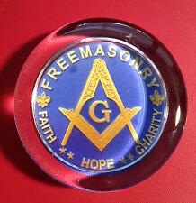FREEMASONRY `FAITH, HOPE & CHARITY 70mm HEAVY GLASS PAPERWEIGHT