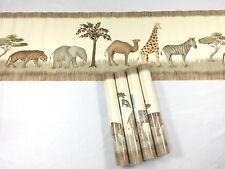 Waverly Wallpaper Border Safari Animals BEIGE Tiger Zebra 4 Roll Lot