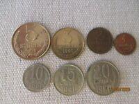 Russia,USSR,20,15,10,5,3,2,1 kopeks ,lot