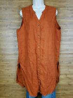Nine West Orange Button Up 100% Linen Sleeveless Tunic Womens Size XL EUC