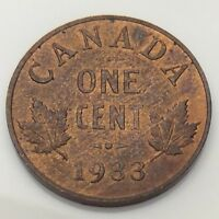 1933 Canada 1 One Cent Copper Penny Canadian Circulated Coin F641