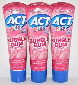 3 ACT KIDS ANTICAVITY FLUORIDE TOOTHPASTE BUBBLE GUM BLOWOUT FOR KID 4.6 OZ EACH
