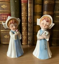 More details for  hummel bisque vintage napco japan young nuns with flower prayer book figurines