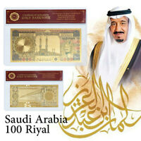 WR Saudi Arabia 100 Riyals Colorized Gold Banknote Middle East Gifts In Sleeve