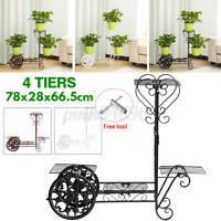 4 Tier Metal Plant Stand Flower Pot Holder Shelves Home Indoor Outdoor Decor US