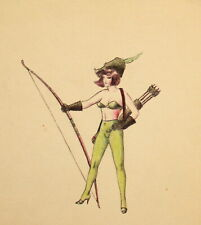 Vintage ink painting theatre costume design woman with long bow