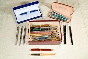 Mix Lot of 47 Vintage Pens/Pencils - Sheaffer LeBoeuf Waterman Parker & More