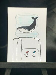 ACEO Original Water Whale Medium Black Ink Marker on Paper Signed by Artist 2020