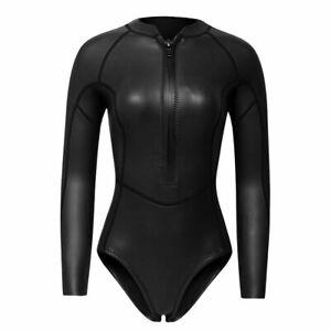 Neoprenanzug Schwimmanzug Damen Langarm 2mm Badeanzug Einteiler Shorty