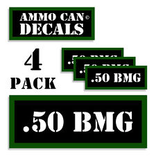 """.50 BMG Ammo Can 4x Labels Ammunition Case 3""""x1.15"""" stickers decals 4 pack"""