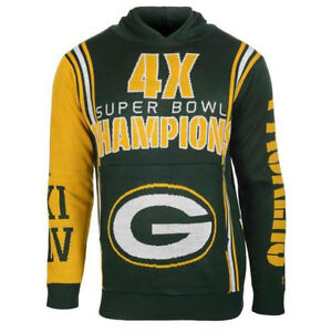 NFL Green Bay Packers 4X Champion Logo Ugly Pullover Hoodie Sweater  size Large