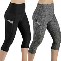 Womens Capri YOGA Pants Pocket Cropped Workout Run Sports Leggings Fitness X159