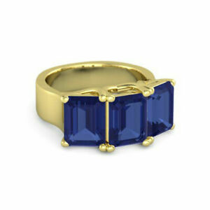 Emerald Blue Sapphire Engagement Ring 3.00 Ct 14K Yellow Gold Size M N O P 1/2