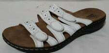 Clarks Collection SZ 9.5C White Triple Strap Slide Sandals Low Heel Adjustable