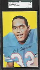 BLANK BACK PROOF OJ SIMPSON HOF ROOKIE CARD 1970 TOPPS SQUARE SGC GRADED RC ABC
