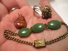 vintage antique Chinese jewelry lot gilt sterling silver, & green jade bracelet