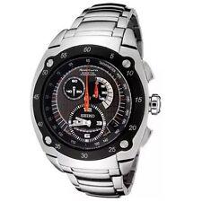 Seiko Sportura SNL043 P1 Kinetic Silver Black Automatic Men's Chronograph Watch