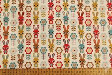 Conejitos & Flores - Tela Poli Algodón Estampada - Ancho 112cm