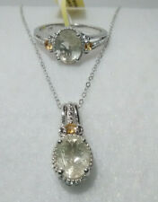 Golden Rutilated Quartz Brazilian Citrine Ring9 and Pendant Platinum over Sterli