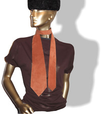 """Hermes Vintage 60s Terracota Suede Tie Lined with Satin of Silk 3.94"""""""
