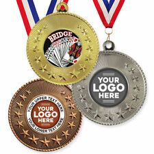 BRIDGE CARDS METAL MEDALS 50mm, PACK OF 10, RIBBONS, INSERTS or YOUR OWN LOGO
