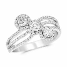 14K White Gold Pave Round .98C Diamond Right Hand Halo Cluster Cocktail Ring
