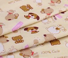 Cotton Cream Brown Puppy Dog Print Kids Clothing Fabric 160cm Wide By the Meter
