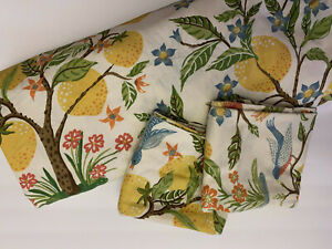 Pottery Barn Jocelyn Capri Lemon Tree Blue Bird King Duvet Cover & Shams