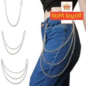 Jeans Trousers Pants Belt Key Chain Punk Metal Chains Rock Body 1/ 2 /3 Layers