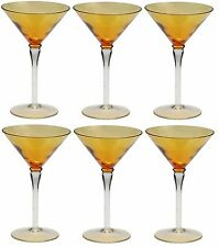 Set of 6 Amber Martini Glasses Cocktail Glasses Very Unique Design