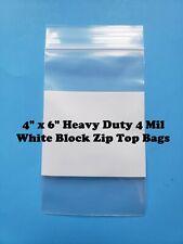 4 X 6 Heavy Duty 4mil White Block Top Lock Zip Seal Bags Reclosable Whiteblock