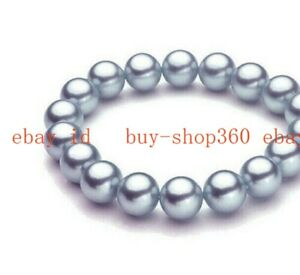 """Fashion  8/10/12mm Multicolor South Sea Shell Pearl Round Beads Bracelet 7.5"""""""