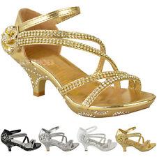New Girls Kids Low Heel Wedding Diamante Sandals Bridesmaid Party Shoes UK Size