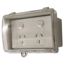 GPO Double Power Point + Weatherproof Clear Lid Box Lock Waterproof FREE POST