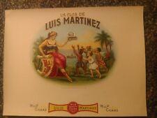 LA FLOR DE LUIS MARTINEZ Inner Cigar Box Label original 1902 embossed HAVANA CO.