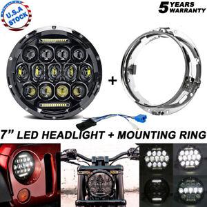 "Fit Yamaha V-Star XVS 950 1100 1300 Classic 7"" Led Headlight DRL +Mounting Combo"