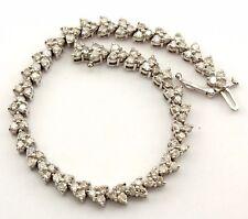 """14k white gold 7ctw 108 round diamonds 7"""" tennis bracelet 17.78 grams estate"""