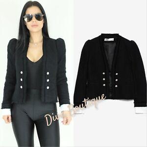Zara AW 2019/20 Black Tweed Jacket Coat with Poplin Size S RRP £80 Free P&P New