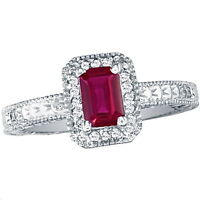 14K WHITE GOLD 2.20CT VINTAGE STYLE OCTAGON RUBY AND DIAMOND RING