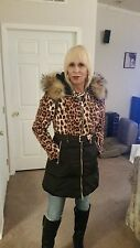 Hooded Fox Fur Collar Leopard Print Quilted Down Jacket Asian Size L US S