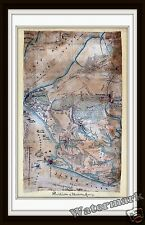 Historical Wall Art Map of the Civil War Hampton Roads Union Army  1862   11x17
