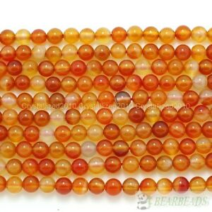 """Red Carnelian Natural Agate Gemstones Round Beads 4mm 6mm 8mm 10mm 12mm 15.5"""""""