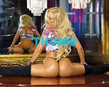 Nicole Coco Austin - 10x8 inch Photograph #012 in Shiny Black Stockings & Thong