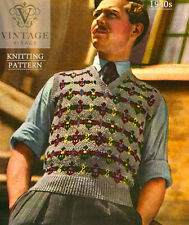 Vintage knitting pattern-how to make 1940s fair isle design mens pullover jumper