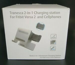 Tranesca 2-in-1 Charger Station Compatible with Fitbit Versa 2 & Cellphones