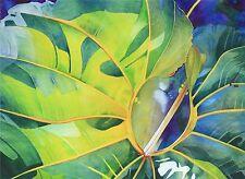 Art Original Watercolor Painting INFINITY LEAF by Hawaii Artist Karin Novak-Neal