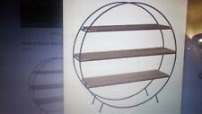 Beautiful Metal and Wooden Round Circular Standing Shelving Unit