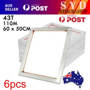 6PCS Aluminum Alloy Silk Screen Printing Frame With 43T 110M Mesh 60 x 50CM AU