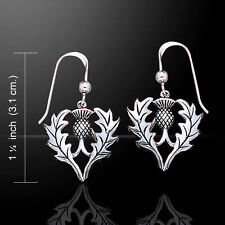 Scottish Thistle with Leaves .925 Sterling Silver Earrings by Peter Stone