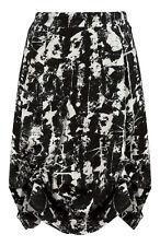 Black & Beige Graphic Print Hitched Hem Skirt-Midi/Above Knee Adjustable-20-22
